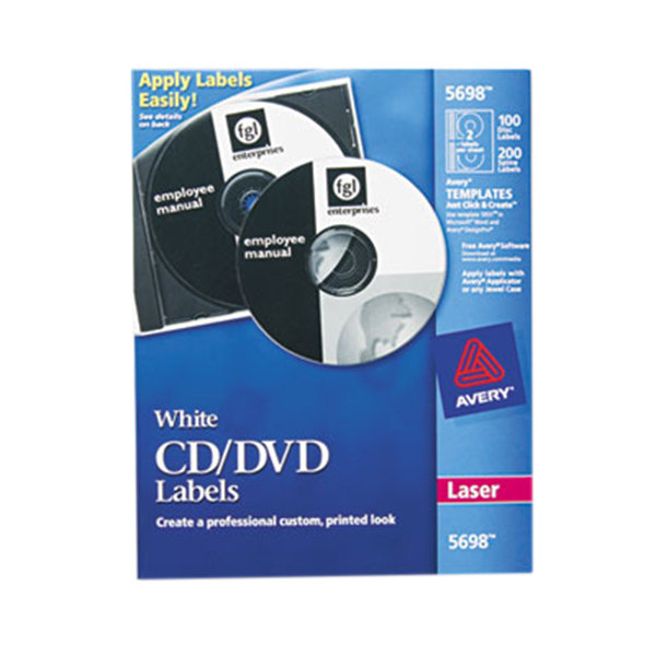 avery 5698 matte white cd    dvd labels  pack