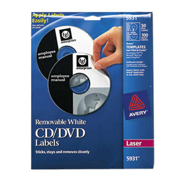 Avery 5931 matte white cd dvd labels 50 pack avery for Avery disc labels