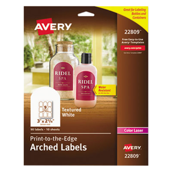 avery ave22809 2 14 x 3 white textured matte water resistant arched labels 90pack - Avery Colored Labels