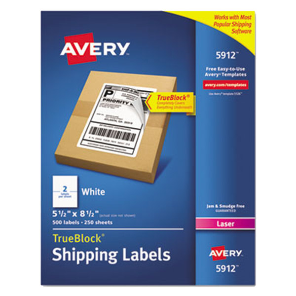 "Avery 5912 TrueBlock 5 1/2"" X 8 1/2"" White Shipping Labels"