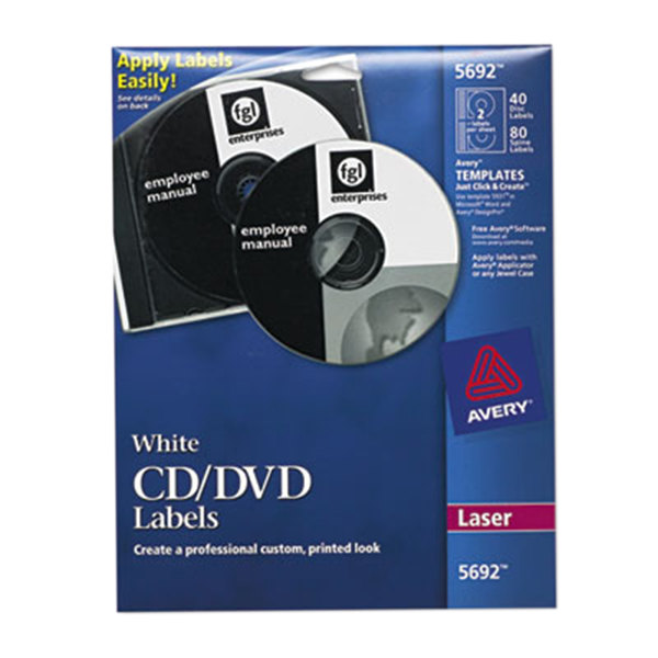 avery 5692 matte white cd    dvd labels  pack