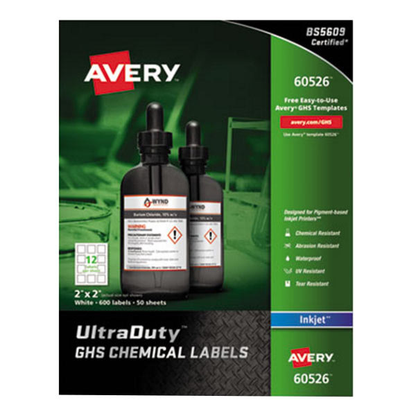 """Avery 60526 UltraDuty 2"""" X 2"""" GHS Chemical Labels For"""