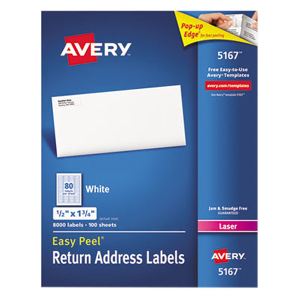 Avery 5167 Easy Peel 12 X 1 34 Printable Return Address Labels