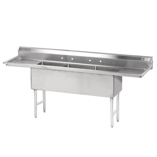 Advance Tabco FS-3-2424-24RL Spec Line Fabricated Three Compartment Pot Sink with Two Drainboards - 120""