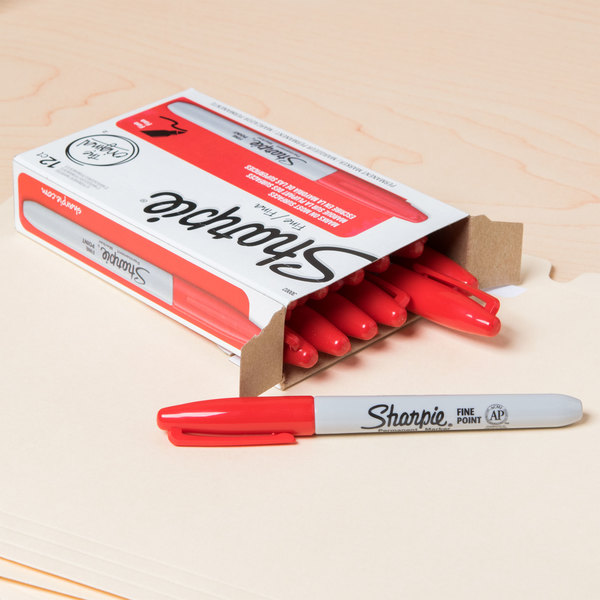Sharpie 30002 Red Fine Point Permanent Marker 12 Box