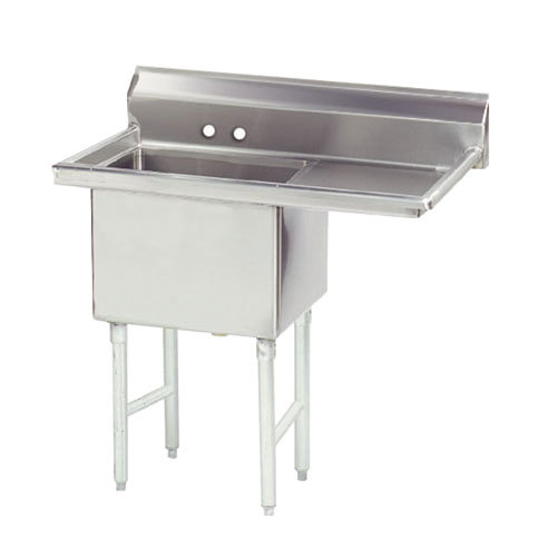 Right Drainboard Advance Tabco FS-1-1818-18 Spec Line Fabricated One Compartment Pot Sink with One Drainboard - 38 1/2""