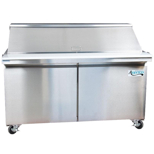 "avantco sclm2-60 60"" 2 door mega top refrigerated sandwich prep table"