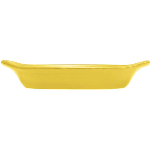 Hall China 30529320 Sunflower 15 oz. Colorations Oval Rarebit / Au Gratin Dish - 24/Case