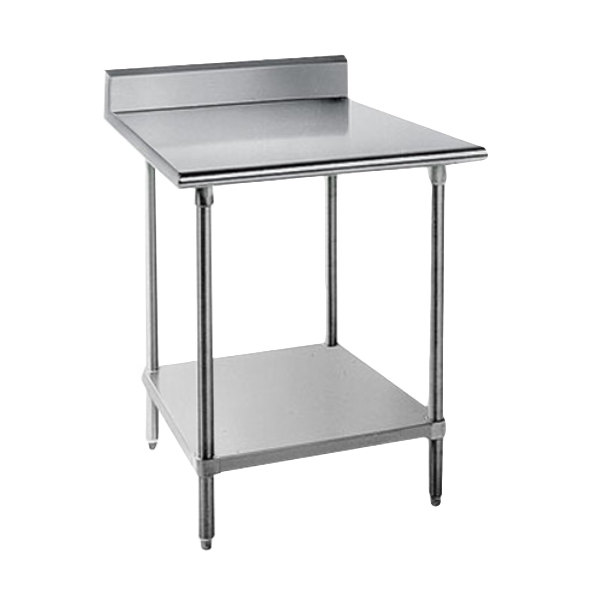 "Advance Tabco KAG-242 24"" x 24"" 16 Gauge Stainless Steel Commercial Work Table with 5"" Backsplash and Undershelf"