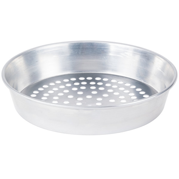 "American Metalcraft SPA90132 13"" x 2"" Super Perforated Standard Weight Aluminum Tapered / Nesting Pizza Pan"