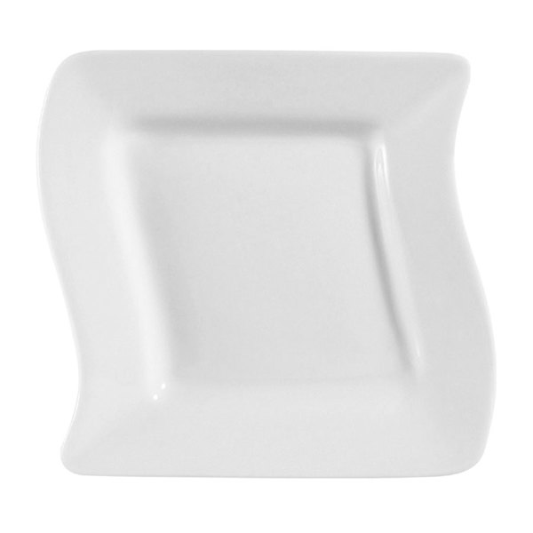 "CAC SOH-16 Soho 10 1/2"" Ivory (American White) Square Stoneware Plate - 12/Case"