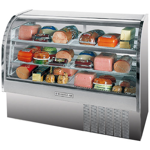 "Beverage Air CDR5/1-S-20 Stainless Steel Exterior Curved Glass Refrigerated Bakery Display Case 61"" - 22.9 Cu. Ft."