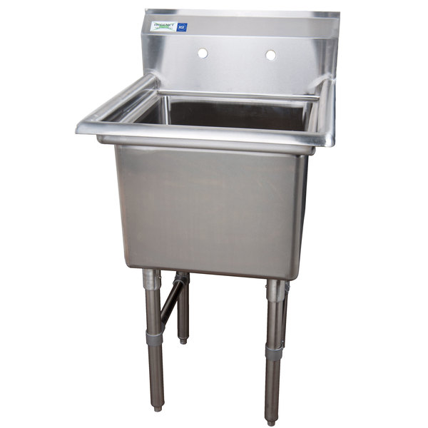 "Regency 23"" 16-Gauge Stainless Steel One Compartment Commercial Sink without Drainboard - 18"" x 18"" x 14"" Bowl"