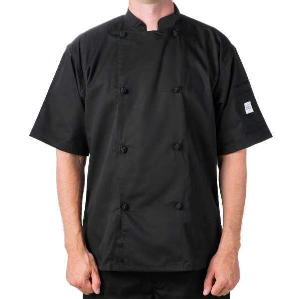 "Mercer M61022BKM Genesis Unisex 40"" Medium Customizable Black Double Breasted Traditional Neck Short Sleeve Chef Jacket with Cloth Knot Buttons"