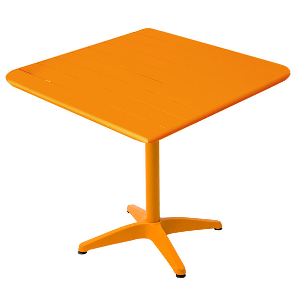 "BFM Seating MSB3232CT Beachcomber 32"" Square Citrus Aluminum Outdoor Table"