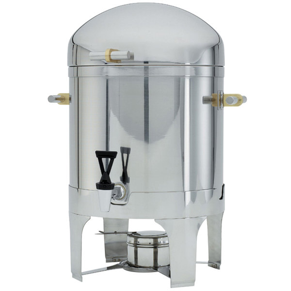 Vollrath 48793 3 Gallon Silverplated New York, New York Coffee Urn with Brass Trim