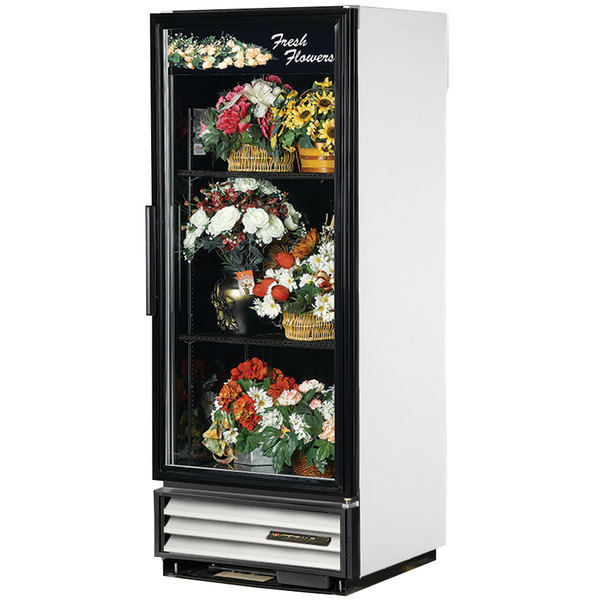True GDM-12FC-LD White Glass Door Floral Case - 12 Cu. Ft.