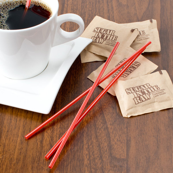 Choice 7 1/2 inch Red and White Unwrapped Coffee Stirrer   - 10000/Case