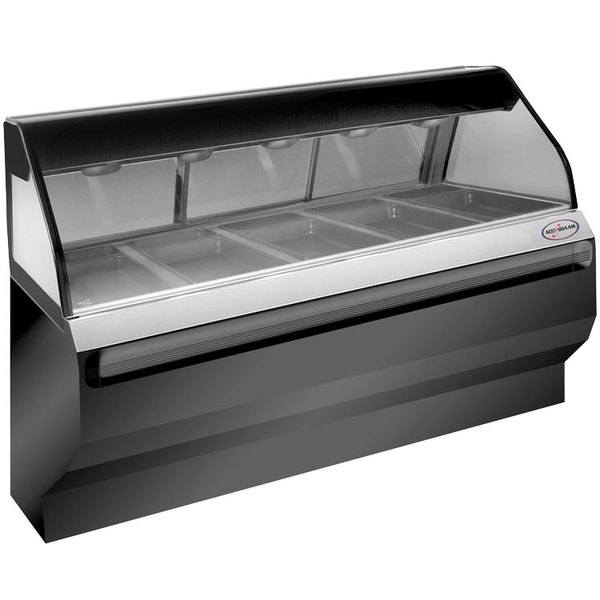 Alto-Shaam ED2SYS-72 SS Stainless Steel Heated Display Case with Curved Glass and Base - Full Service 72""