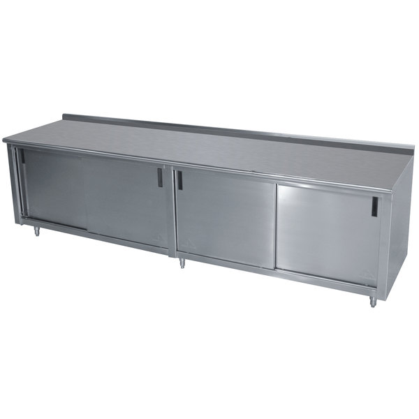 "Advance Tabco CF-SS-309 30"" x 108"" 14 Gauge Work Table with Cabinet Base and 1 1/2"" Backsplash"