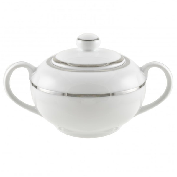 10 Strawberry Street DSL0018 8 oz. Double Line Silver Covered Sugar Bowl - 6 / Case