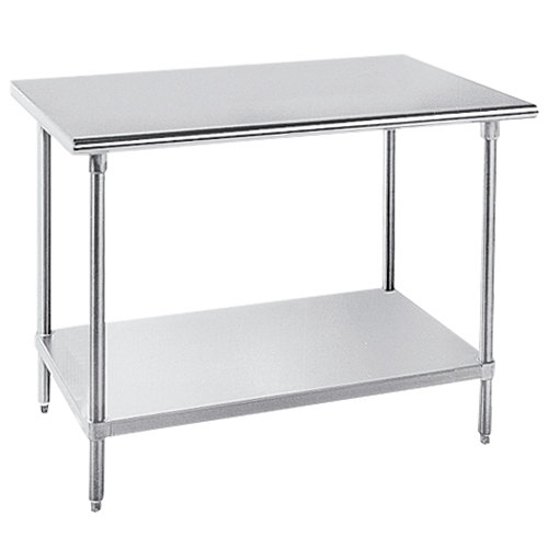 "Advance Tabco GLG-484 48"" x 48"" 14 Gauge Stainless Steel Work Table with Galvanized Undershelf"