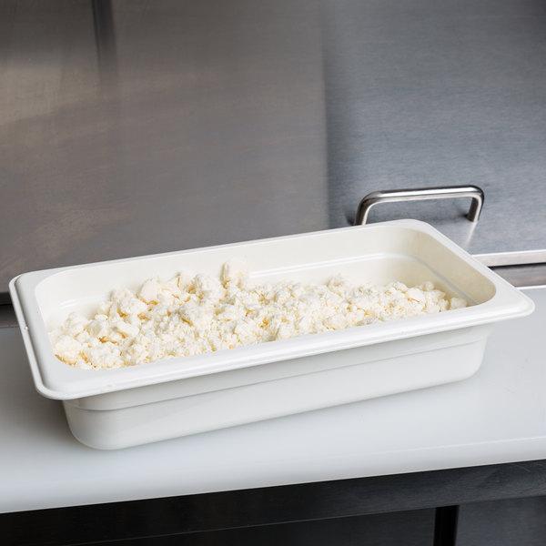 "Cambro 32CW148 Camwear 1/3 Size White Food Pan - 2 1/2"" Deep"