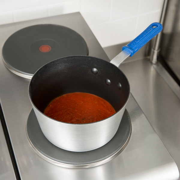 Vollrath Z434212 Wear-Ever 2.75 Qt. Tapered Aluminum Sauce Pan with SteelCoat x3 Non-Stick Interior and Cool Handle