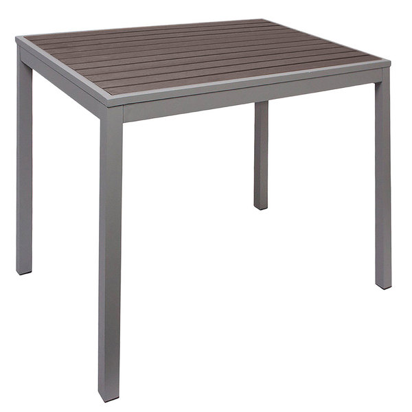 "BFM Seating PH4L3535GRSG Seaside 35"" Square Soft Gray Metal Bolt-Down Standard Height Table with Gray Synthetic Teak Top"