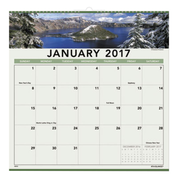 January 2017-December 2020 Calendar At A Glance 88200 12