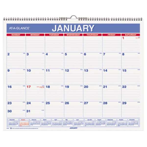 "At-A-Glance PM828 12"" x 15"" Blue / Red Monthly January 2018 ..."