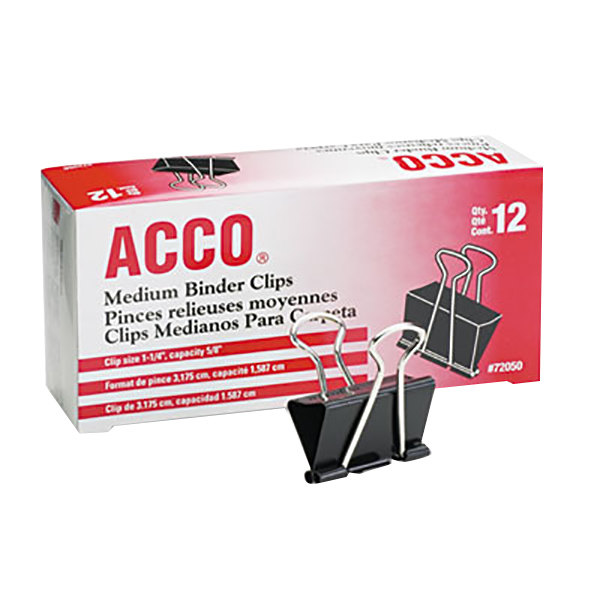 "Acco 72050 5/8"" Capacity Black Medium Binder Clip - 12/Pack"