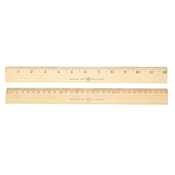 Westcott 10375 12 Flat Wood Ruler With Metal Edge 116 Standard Scale