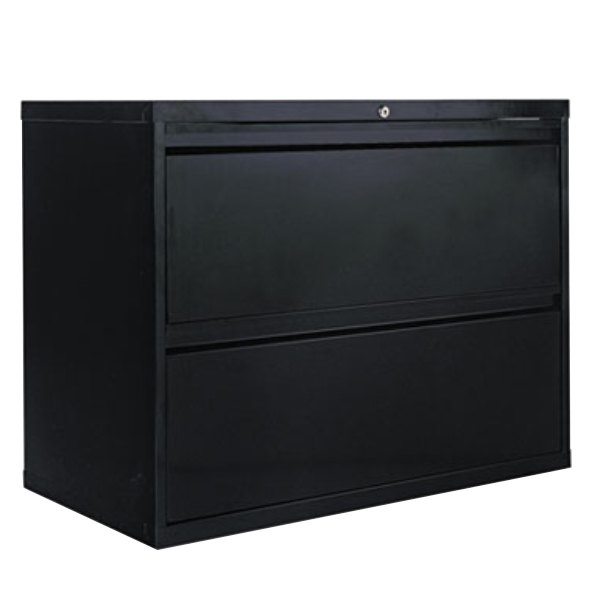 alera alelf3629bl black two drawer metal lateral file cabinet 36 x 19 1 4 x 28 3 4. Black Bedroom Furniture Sets. Home Design Ideas