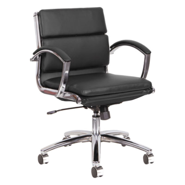 ... Black Leather Office Chair With Fixed Arms And Chrome Swivel. Main  Picture