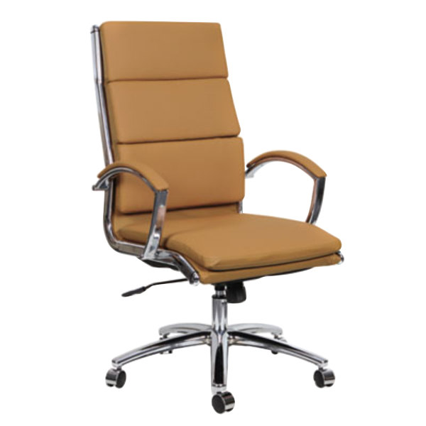 alenr4159 neratoli high-back camel leather office chair with fixed