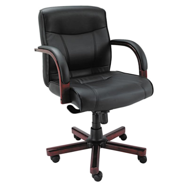 alera alema42ls10m madaris mid-back black leather office chair