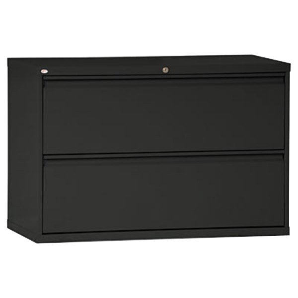 alera alelf4229bl black two drawer metal lateral file cabinet 42 x 19 1 4 x 28 3 8. Black Bedroom Furniture Sets. Home Design Ideas