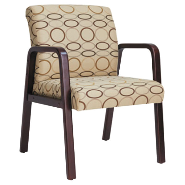 Alera ALERL4351M Reception Tan Patterned Fabric Arm Chair ...
