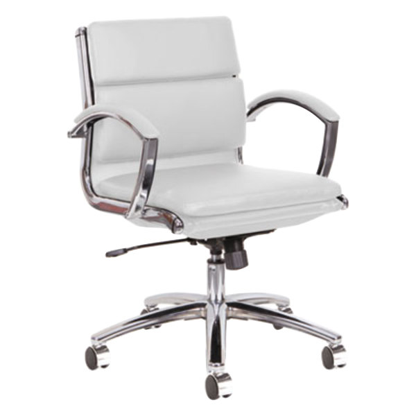 Alera ALENR4706 Neratoli Low-Back White Leather Office Chair with ...