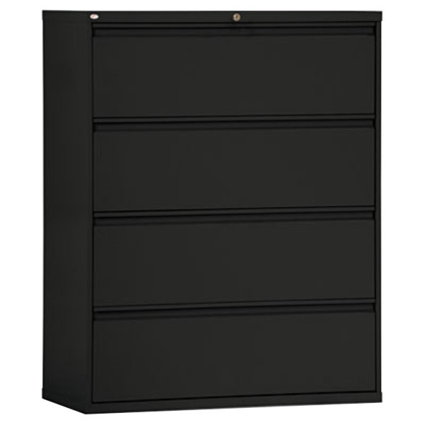 Alera ALELF4254BL Black Four Drawer Metal Lateral File Cabinet   42