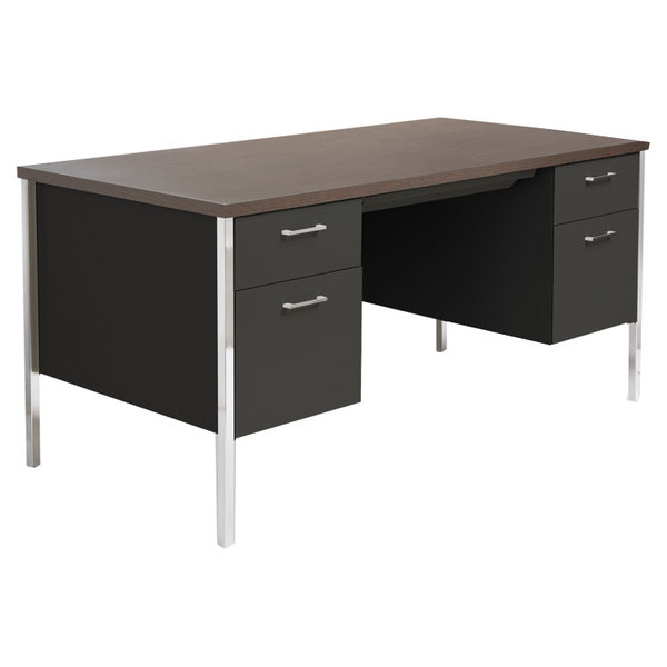 alera alesd6030bm 60 x 30 walnut and black double pedestal steel desk. Black Bedroom Furniture Sets. Home Design Ideas
