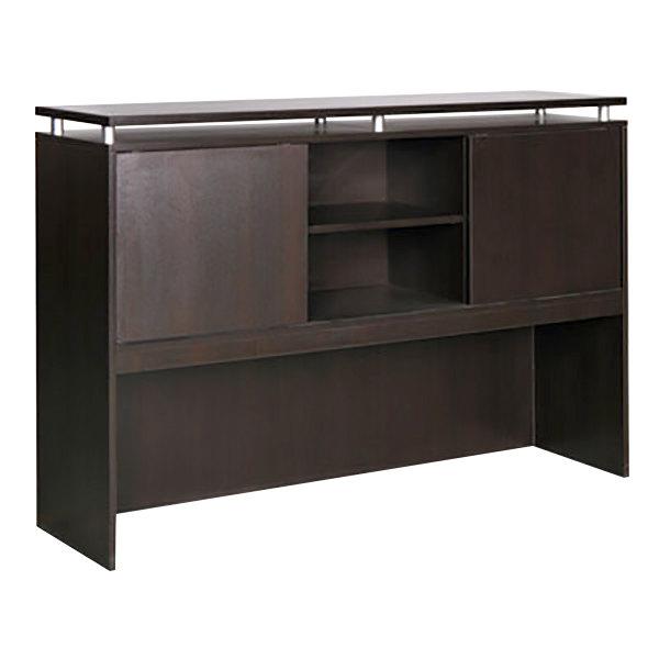 Alera Alese266615es Sedina 66 X 15 42 1 2 Espresso Desk Hutch With Sliding Doors