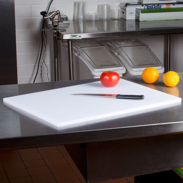 "18"" x 24"" x 3/4"" White Poly Cutting Board"