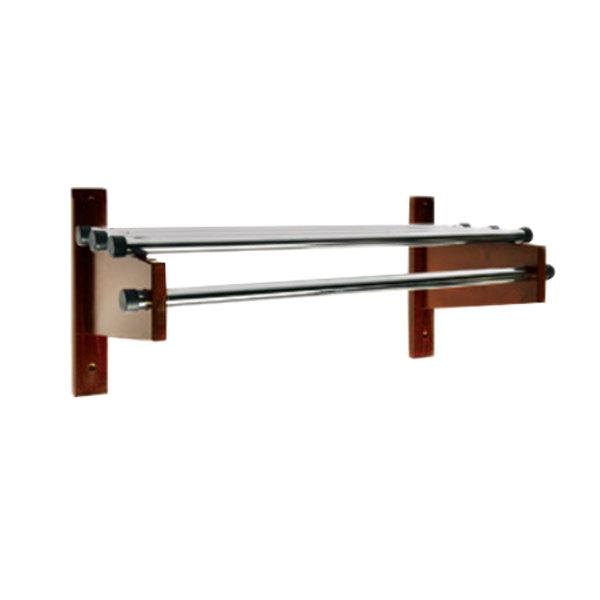 "Wall Hanging Coat Rack csl tdemb-2532 30"" mahogany wall mount coat rack with chrome top"