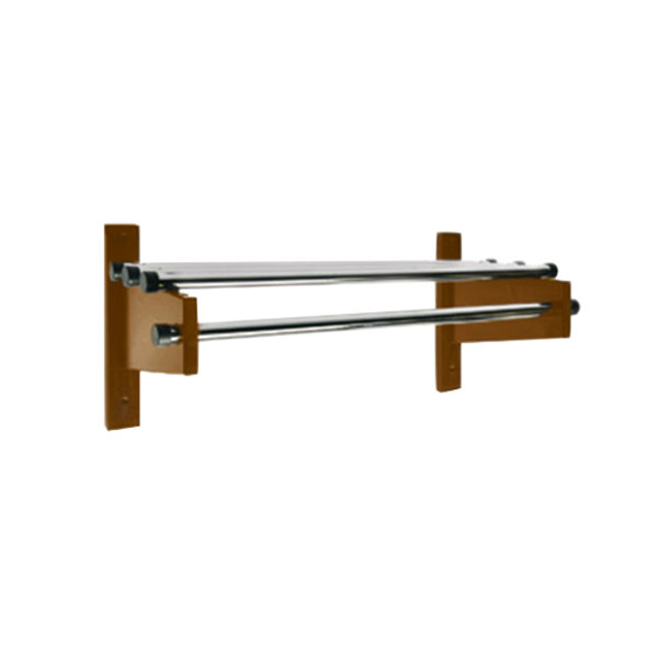 "CSL TDEMB-3748 42"" Dark Oak Wall Mount Coat Rack with Chrome Top Bars and 5/8"" Hanging Rods"