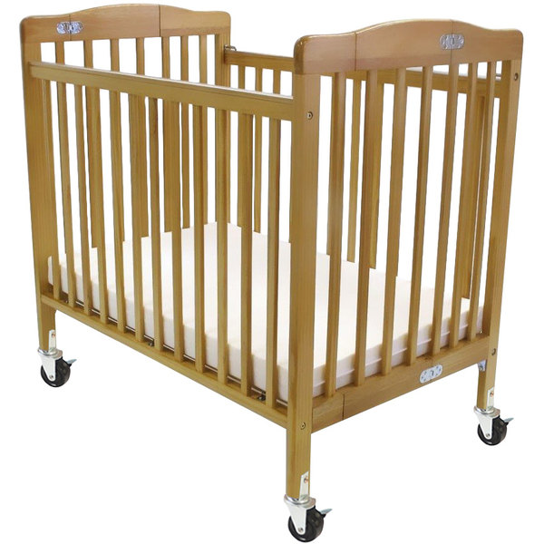 "L.A. Baby 888A-N 24"" x 38"" Natural Folding Pocket Crib with 3"" Fire Retardant Mattress"