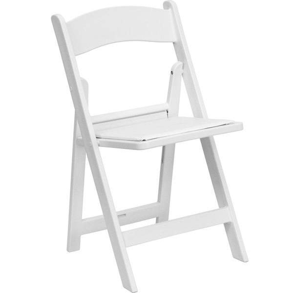 Flash Furniture LE-L-1-WHITE-GG White Plastic Folding Chair with Padded Seat