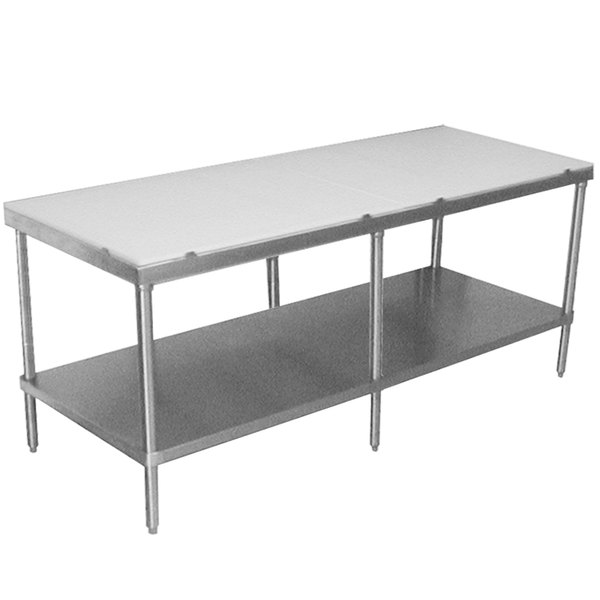 "Advance Tabco SPT-249 Poly Top Work Table 24"" x 108"" with Undershelf"