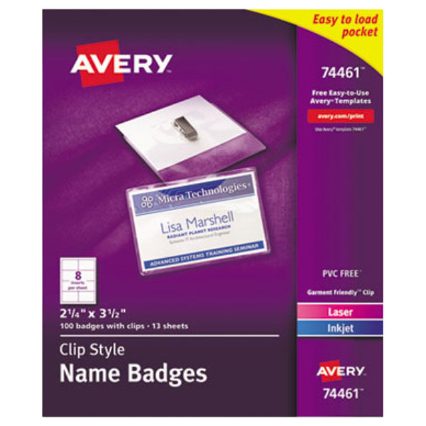 Avery 74461 2 14 X 3 12 White Laser Ink Jet Name Badge And Top
